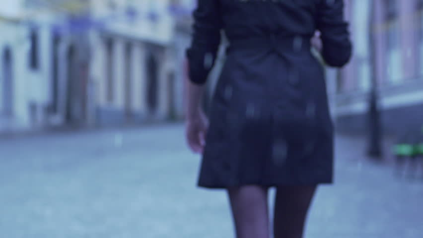 Slow Motion Rear View Of Elegant Woman Walking In City On Rainy Day #10379465
