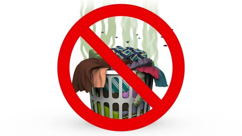 Laundry Basket in Prohibited sign. 3D animation in cartoon style.