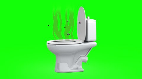 Stench from the toilet.  3D animation, green screen, loopable.
