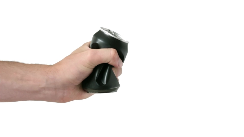 Man hand crushes can. Throwaway shot and retrieve shot. Tin aluminum can for beer or soda. Isolated on white background. | Shutterstock HD Video #1038176285