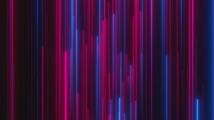 Looped animation. Abstract background with bright beams in red and blue color moving up. Modern colorful wallpaper. 3d rendering. | Shutterstock HD Video #1038465995