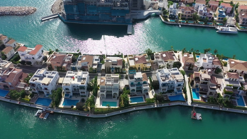 Aerial view of the new houses in marina, Limassol, Cyprus | Shutterstock HD Video #1038731945