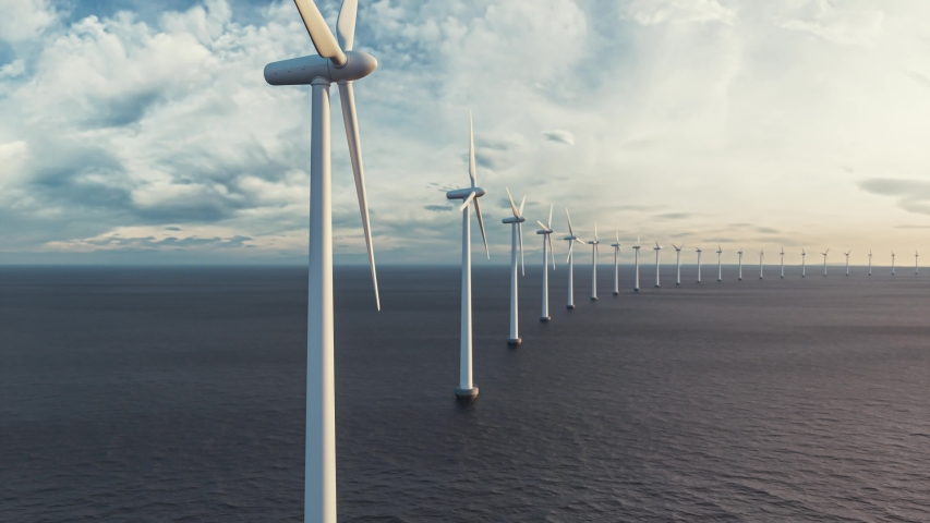 Offshore wind turbines in the sea. Windmill farm from aerial view | Shutterstock HD Video #1038913895