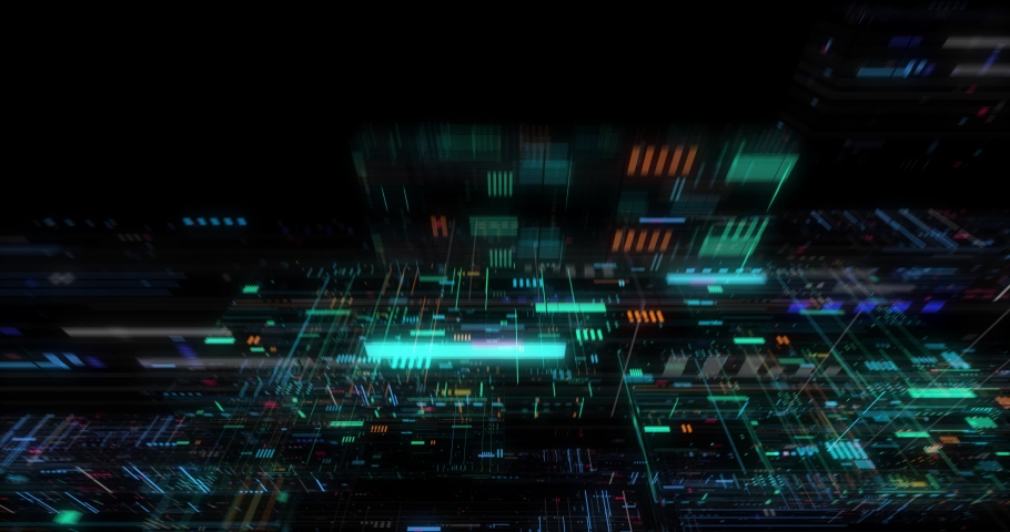 Seamless fly through of abstract circuitry with digital grid background, Data deep learning computer machine. AI artificial intelligence and ML machine learning concept. loop, 3D render | Shutterstock HD Video #1039053155