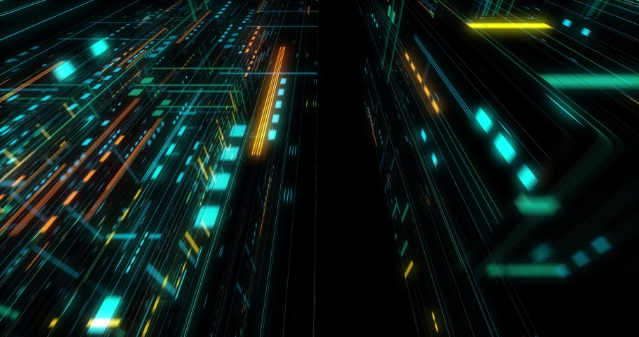 Seamless fly through of abstract circuitry with digital grid background, Data deep learning computer machine. AI artificial intelligence and ML machine learning concept. loop, 3D render | Shutterstock HD Video #1039053185