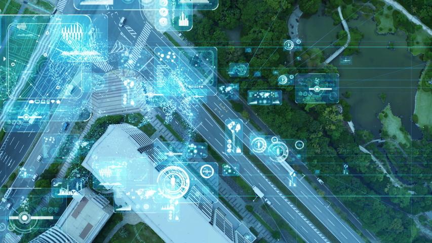 Smart city and communication network concept. 5G. LPWA (Low Power Wide Area). Wireless communication. | Shutterstock HD Video #1039178405