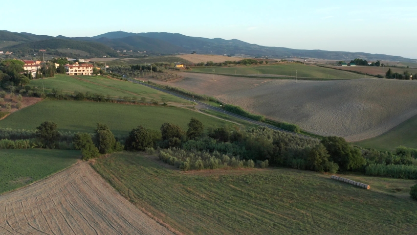 Drone aerial view of countryside in Chianti region, Tuscany, Italy   Shutterstock HD Video #1039196345