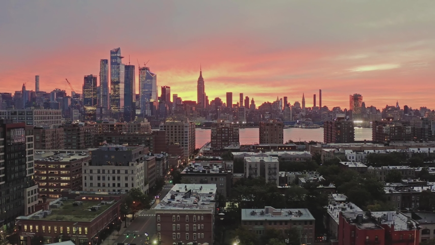 Aerial View Sunrise at Downtown New York City and Hoboken 4k | Shutterstock HD Video #1039200755