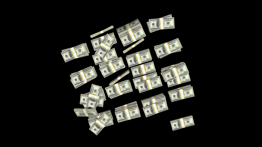 Falling Dollars Stack Pack is a stock motion graphics video pack that has 5 clips of money piles falling down on a transparent surface. | Shutterstock HD Video #1039429295