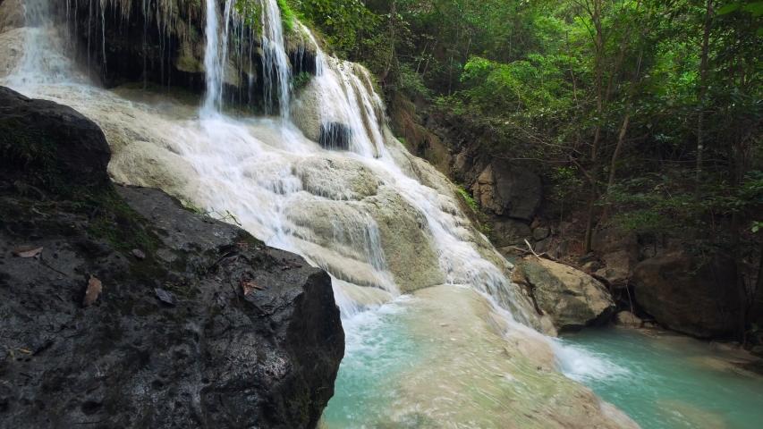 Erawan Waterfall (dolly shot), Kanchanaburi, Thailand | Shutterstock HD Video #1039457555