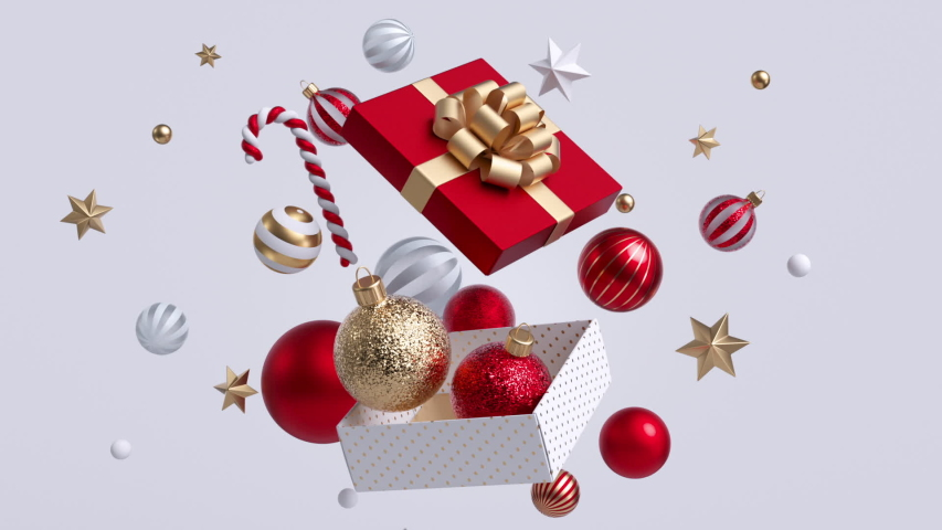 Christmas gift box opening, glass red and golden balls falling out, gold confetti exploding. Xmas decor isolated on white background. New Year animated greeting card. Winter holiday concept.   Shutterstock HD Video #1039478435