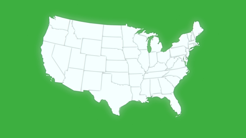 Map of United States of America showing different states. Animated usa contiguous lower 48 u.s. state map on an isolated green screen chroma key background. 4K animation | Shutterstock HD Video #1039709915