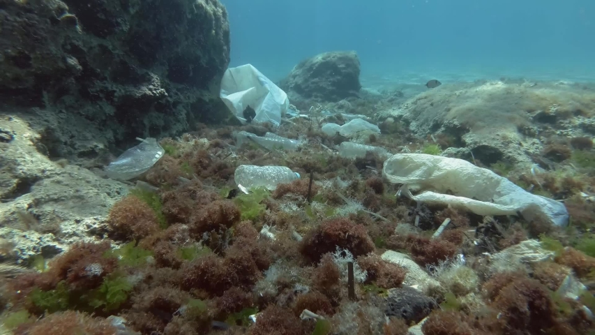 Plastic pollution, fishes swims above sea bottom covered with a lot of plastic garbage. Slow motion. Bottles, bags and other plastic debris on seabed in Mediterranean Sea, Greece, Europe | Shutterstock HD Video #1040117825