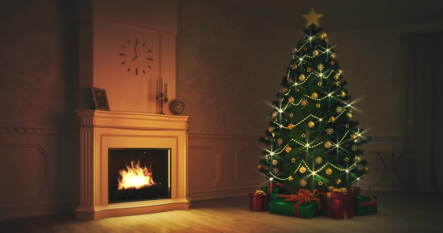 Burning fireplace with lit Christmas tree in night interior scene, winter seasonal background 4K loop animation | Shutterstock HD Video #1040138915