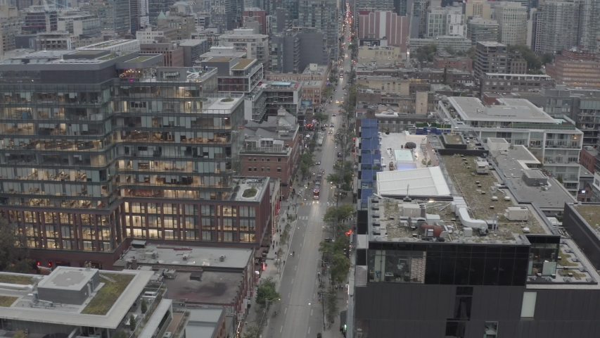 Yonge Street Rooftop Aerial video with streetcar in view Toronto Canada 4k ungraded | Shutterstock HD Video #1040171645