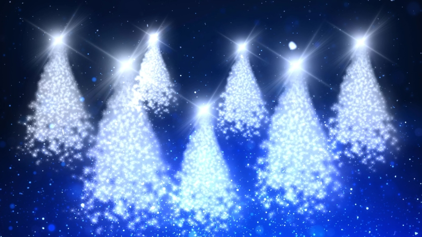 Christmas Tree Sparkle Blue Forest 4K Loop features multiple particle Christmas Trees floating in a blue atmosphere with particles floating up and snowflakes coming down in a loop | Shutterstock HD Video #1040297525