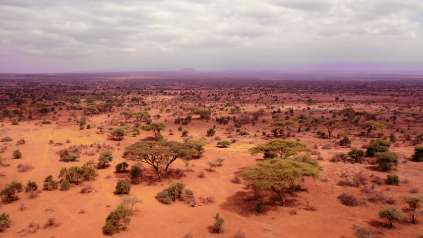 An aerial view over savana safari landscape, Kenya, Africa | Shutterstock HD Video #1040560085