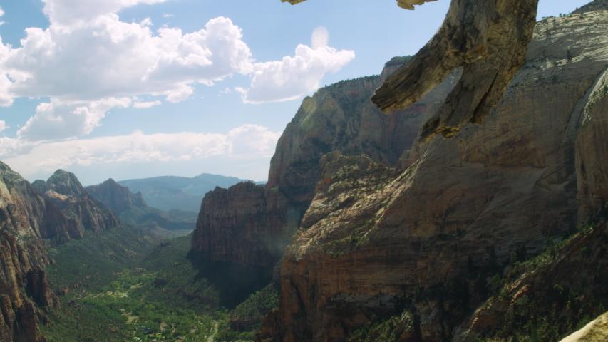 Angels Landing in Zion National Park, Utah.  Tracking Shot Overlooking Valley at Angels Landing Peak #1040590085