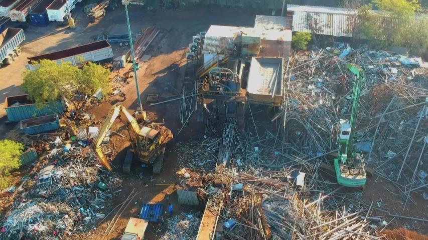 Steel junk yard recycle process | Shutterstock HD Video #1040684375