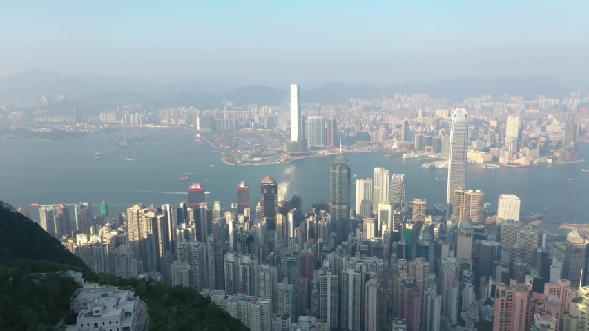 09 Oct 2019, View from Victoria Peak, a mountain in the western half of Hong Kong Island   Shutterstock HD Video #1040821235