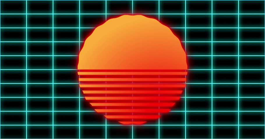 Vaporwave background with grid and scorching sun. Seamless loop. Retrowave video for geek intro, dj music, cyberpunk events.