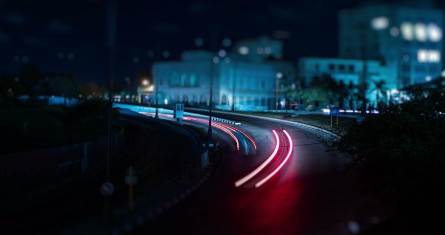 Night Traffic near Havana Tunnel Entrance Long Exposure Time Lapse with Tilt-Shift Miniature Effect, Havana, Cuba