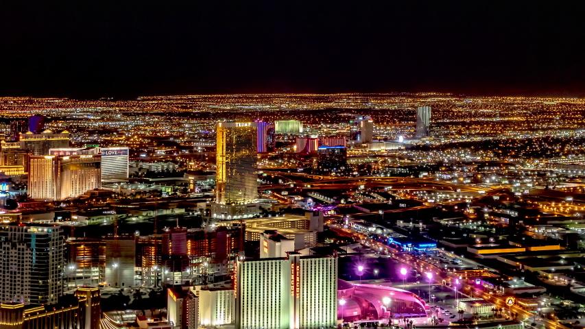 Las Vegas Skyline Neon Lights Trump Tower 7-25-2018   Shutterstock HD Video #1040950475