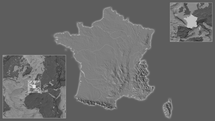 France area framed and extracted from the global bilevel map in the van der Grinten I projection with animated oblique transformation | Shutterstock HD Video #1040959235