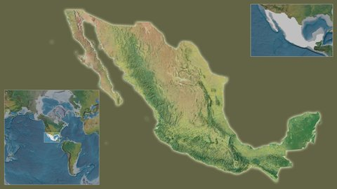 Mexico area framed and extracted from the global topographic map in the van  der grinten i projection with animated oblique transformation