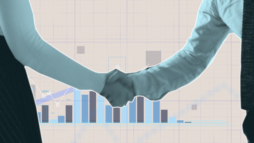 Financial cutout stop-motion animation of a business handshake with coins falls and buildings rising. Transition with graphs and charts in New York City. Put your own text on top of this video.  | Shutterstock HD Video #1040994635
