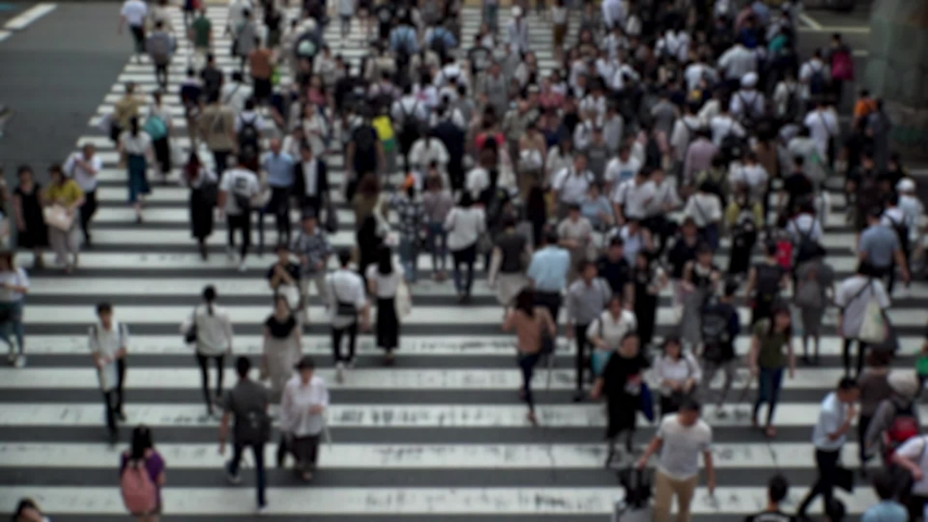 UMEDA, OSAKA, JAPAN - CIRCA SEPTEMBER 2019 : Aerial blurred high angle view of zebra crossing near Osaka train station. Crowd of people at the street. Shot in busy rush hour. Wide slow motion. | Shutterstock HD Video #1041098725