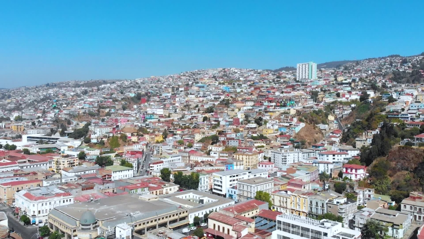 City on the hills, Colorful Houses, cottages (Valparaiso, Chile) aerial view | Shutterstock HD Video #1041121315