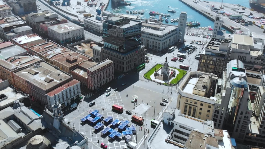 Square Sotomayor Plaza (Valparaiso, Chile) aerial view, drone footage | Shutterstock HD Video #1041121645