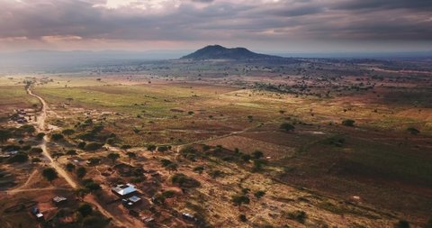 Aerial drone view of african desert landscape tanzania africa  arusha is a  city in east africa's tanzania, located at the base of volcanic mt  meru