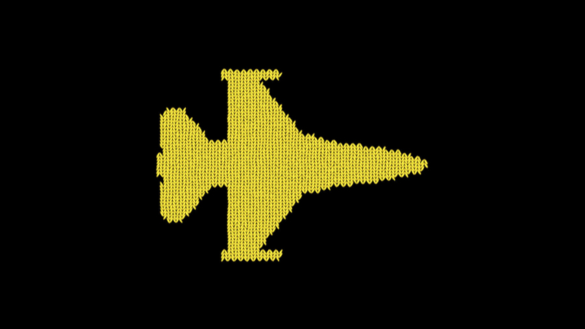 Symbol fighter jet is knitted from a woolen thread. Knit like a sweater | Shutterstock HD Video #1041376675