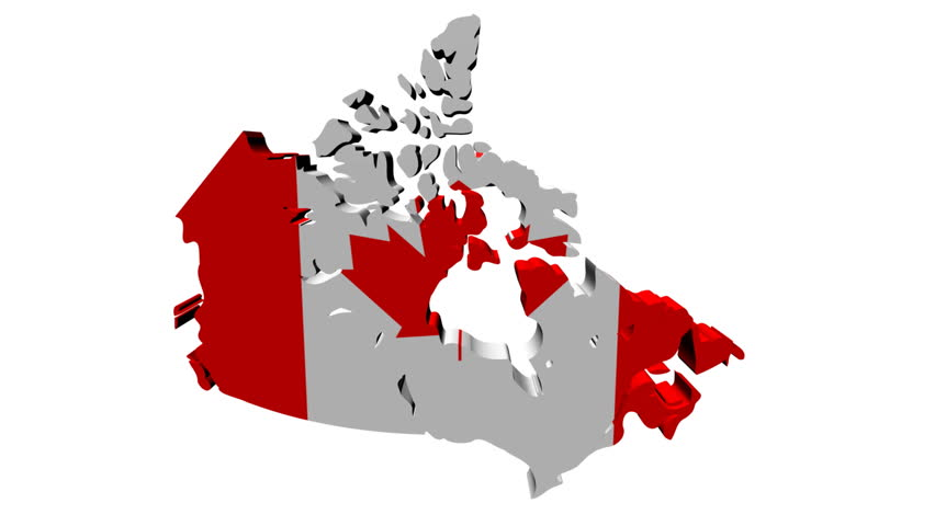 Canada Map Flag With Container Ships Departing Animation Stock - Canada map with flag