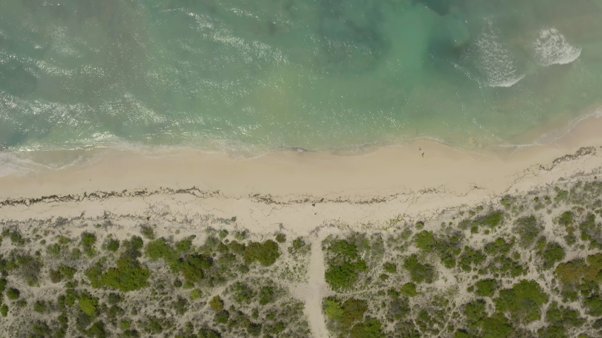 Aerial view of the beach and an ocean surface in Grand Turk in Caribbean   Shutterstock HD Video #1041671425