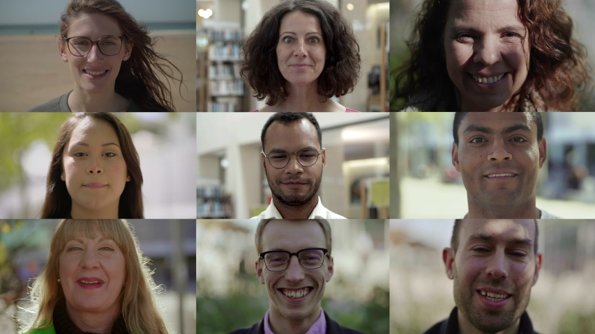 Front view of smiling mixed race people looking at camera. Multiscreen montage, split screen collage. Ethnicity variation concept | Shutterstock HD Video #1041961615