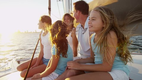 Caucasian Family Group Together Luxury Lifestyle Yacht Tourism Promotion
