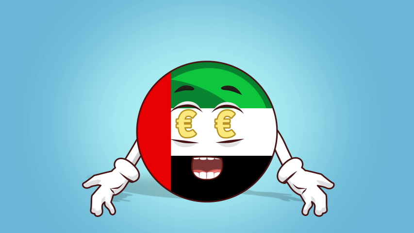 Cartoon Icon Flag UAE United Arab Emirates Face Animation Euro Signs in Eyes    Shutterstock HD Video #1042178425