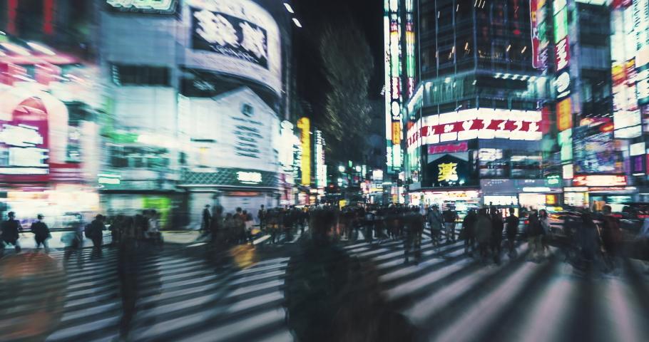 Hyperlapse of night market at Kabukicho in Shinjuku Tokyo. Japan