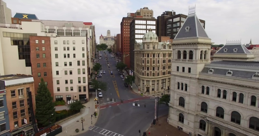 Lowering aerial view of downtown Albany, New York | Shutterstock HD Video #1042217605