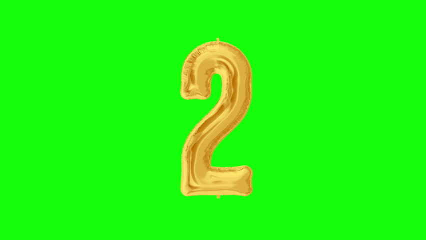 Gold foil number 2 two on green screen for anniversary celebration, festival, decorations and happy birthday. 4K video. | Shutterstock HD Video #1042254745