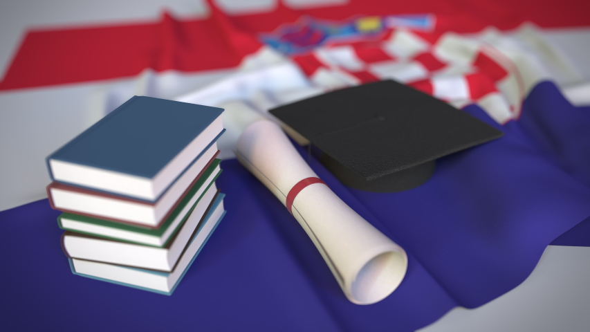 Graduation cap, books and diploma on the Croatian flag. Higher education in Croatia related conceptual 3D animation   Shutterstock HD Video #1042306645