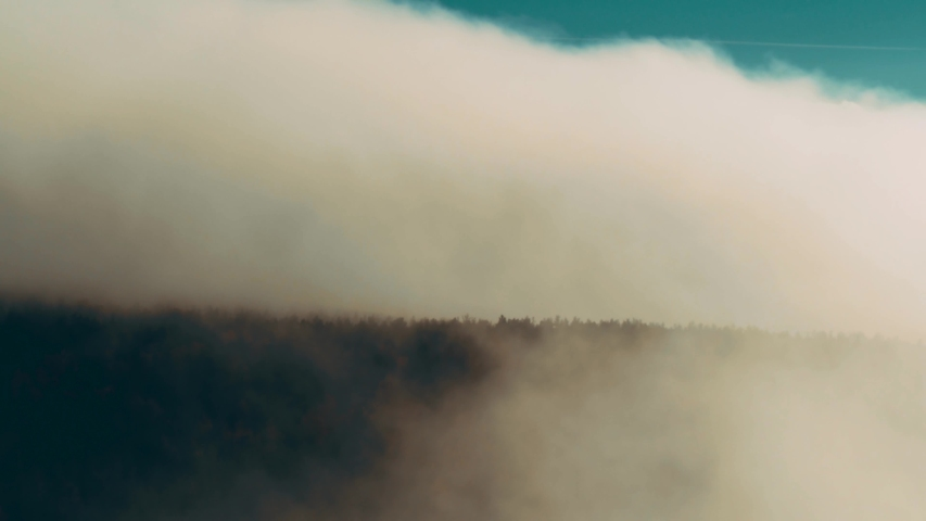 From fog to the sky. Aerial shot on the lake. High above the clouds. Clouds and sky on horizon. Russia The Gulf of Finland | Shutterstock HD Video #1042331515
