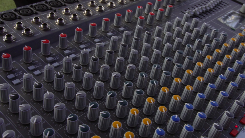 Audio sound mixer, slides and knobs, music equipment  | Shutterstock HD Video #1042539985