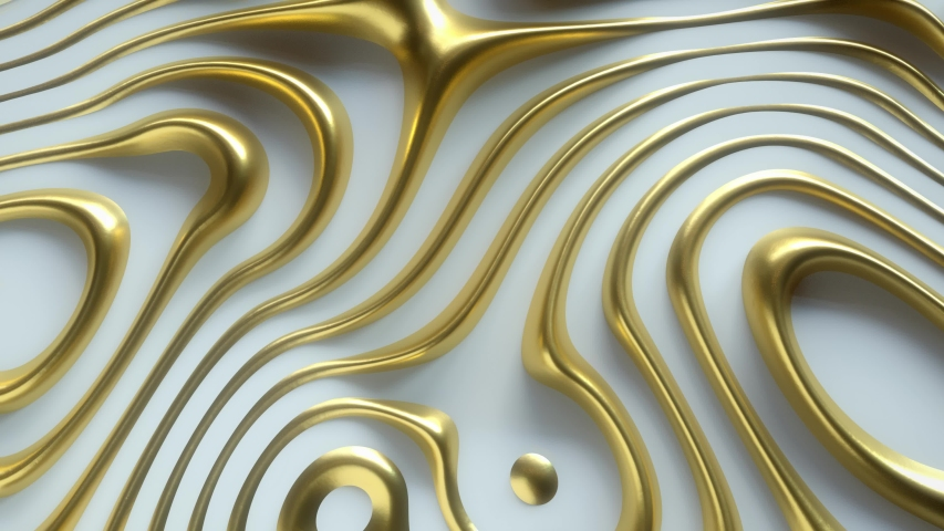 Wavy dynamic surface. Abstract background with golden curl noise ripples. Motion design template. 3d loop animation. Composition with topography relief. 4K UHD | Shutterstock HD Video #1042542685