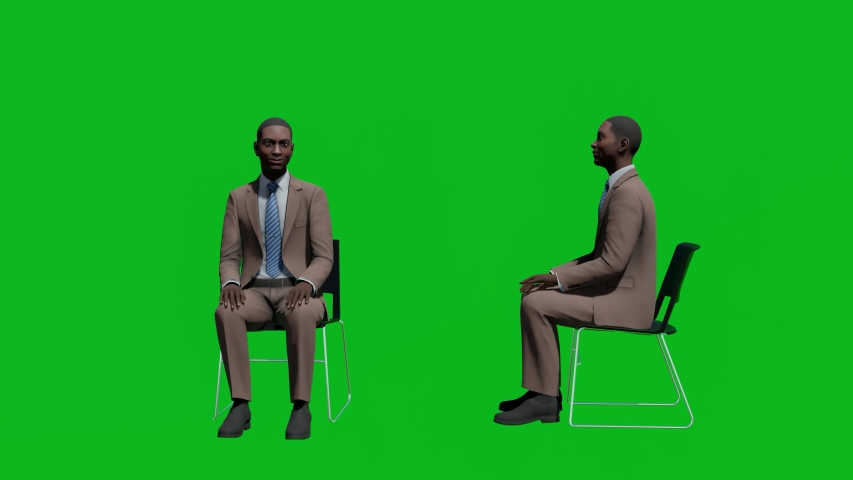 Business african man sitting on chair in front view and side view, realistic 3D people rendering isolated on green screen. | Shutterstock HD Video #1042602865