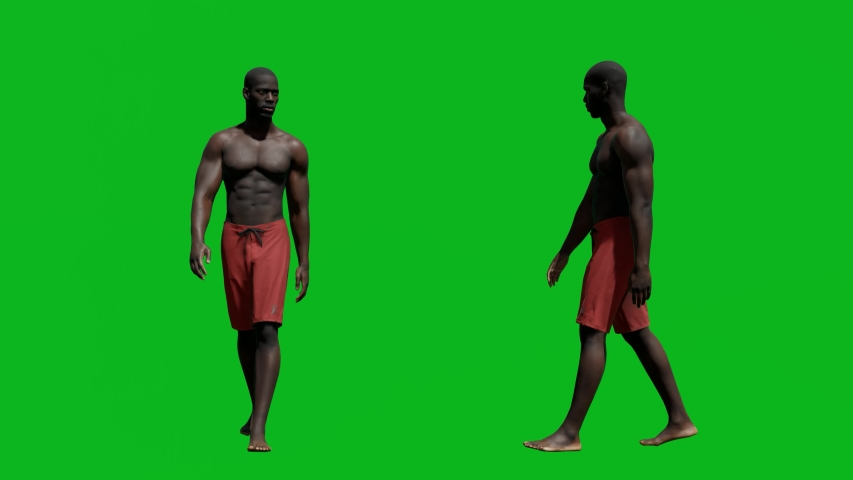 African man with summer outfit walking in front view and side view, realistic 3D people rendering isolated on green screen. | Shutterstock HD Video #1042602895
