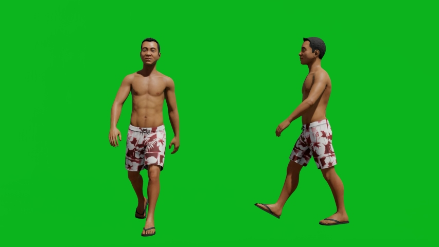 Asian man with summer outfit walking in front view and side view, realistic 3D people rendering isolated on green screen. | Shutterstock HD Video #1042740565
